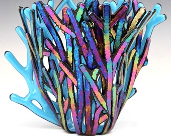 Iridescent Branches Fused Glass Vase