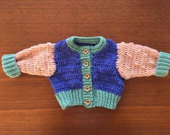 Multicolored Newborn Crocheted Cardigan