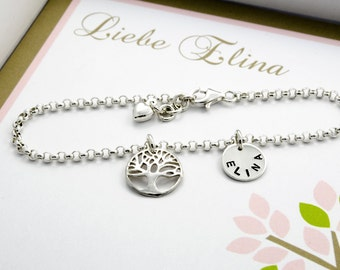 Christening jewellery, 925 sterling silver tree of life engraving