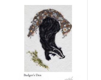 Badger Print, Woodland art, needle felt badger