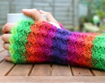 Multicolour fingerless gloves, multicolour wrist warmers, crochet arm warmers, colourful gloves.