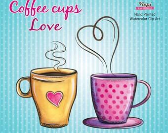 Coffee Cup Watercolor Clipart Instant Download, Coffee Love Clip art, Retro Hand Drawn Cliparts, Party Invitation Scrapbooking, Coffee Decor