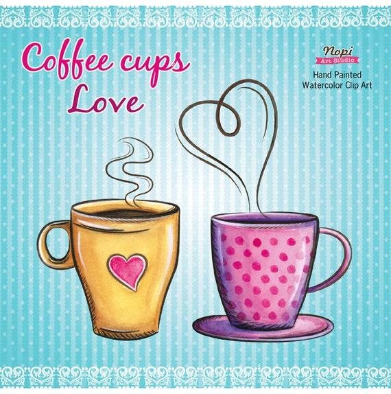 Coffee Cup Watercolor Clipart Instant Download Coffee Love