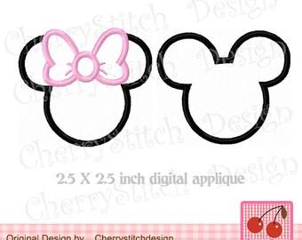 "Mickey and Minne Machine Embroidery Applique Design- 2.5 x 2.5"""