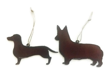 CORGI or DACHSHUND Ornaments made of Rustic Rusty Rusted Recycled Metal