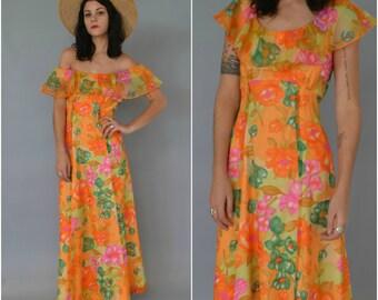 SALE - 1970s off the shoulder chiffon maxi dress