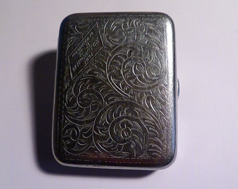 Vintage cigarette cases / card cases initials W B grooms men gifts