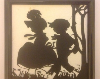 Simply Silhouettes/Darling Black & White Boy and Girl Silhouette in Frame