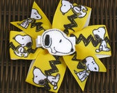 Snoopy 5 Inch Hair Bow with Feltie Center - Charlie Brown Gang - Snoopy, Charlie Brown, Woodstock - Snoopy Party - Snoopy Favor  - BowBravo