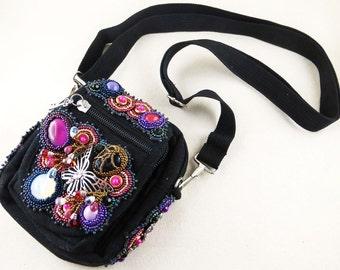 Handbag, shoulder bag, bag, bead embroidery, bead embroidery