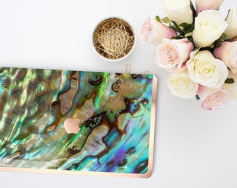 Platinum Edition Abalone Shell Rose Gold/Copper Edge Detailing Hybrid Hard Case for Apple Mac Air & Mac Retina