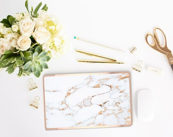 Marble Bianco Sivec Gold veins and Rose Gold Edge Detailing Hybrid Hard Case for Apple Mac Air & Mac Retina - Platinum Edition