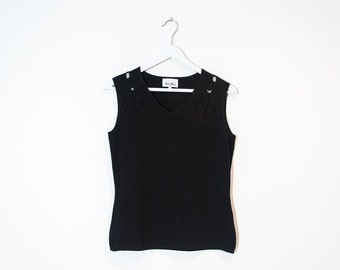 on sale - black beaded sleeveless knit top / fitted cutout v-neck tank top / size L