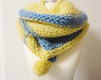 Loop Tube Infinity Scarf light blue  yelleow handknitted