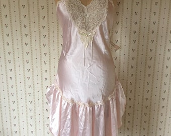1980s boho baby pink slip dress | lace slip dress old stock with tags