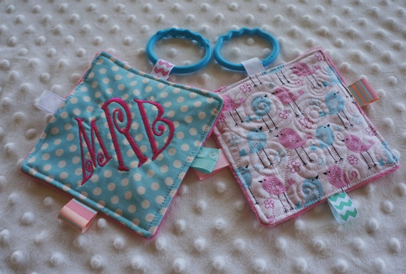 Baby Girl toys, crinkle toys, personalized, set of 2 with teething links. Bird print is machine quilted,  5 inch squares, babies love these.
