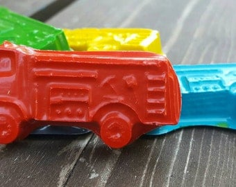 Fire truck crayons set of 50 - party supplies - Fireman party favors