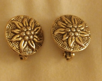 Vintage Round Metal Sunflower Clip On Earrings