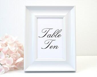 PRINTED Wedding Table Number, White Shimmer, Script, Black, Monogram, Calligraphy, Simple, Elegant, Polka Dots, SIMPLE ELEGANCE Design