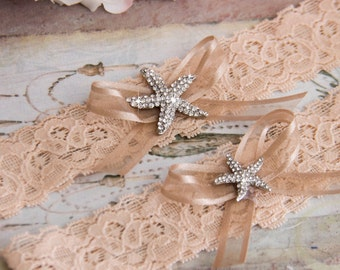 Beach Wedding Garter Set, Dark Blush Bridal Garter Set, Blush Lace Garter, Lace Wedding Garter,  Blush Garter Set, Personalized Garter