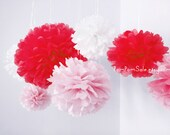 Valentine's Day - 9 Tissue Paper Pom Poms - Fast Shipping -  for Valentine's Day decoration and any moments full of romance