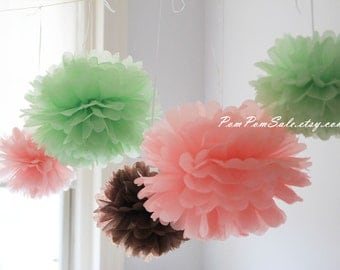 SALE -Baby Bird Shower - 12 Tissue Paper Pom Poms in Pink Green Brown - Fast Shipping - good for Baby Shower / Baby Nursery / Birthday Party