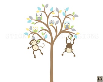 Owl tree decal, Monkey Tree, Owl tree wall sticker, Owl Nursery Art, owl wall decal, nursery owl decor, Retro Design