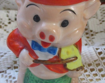 Vintage Early Japan Pig toothbrush holder - just fiddlin' away - Estate find! - Steampunk project maybe!
