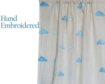 Ivory Linen Curtains -Curtains With Clouds Embroidery -Window Curtains -Linen Drapes -Kids Room Curtains Nursery Curtains Blue Clouds Drapes