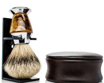 Personalized Shaving Kit - Personalized Shaving Set - SILVERTIP badger shaving brush - mens christmas gifts - wood shaving bowl - mens gifts