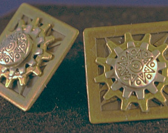 Double Gear Square Button Post Earrings