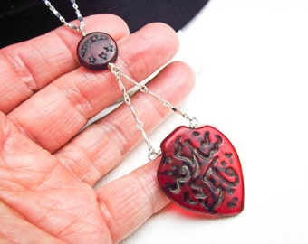 Antique 1900 Red Czech Glass Hajj Heart Necklace, Engraved Prayer Beads & Sterling Silver; Purchased in Turkey.
