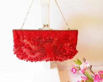 Red Evening Bag, Vintage Red Purse, Red Beaded Handbag, Beaded Clutch Bag, Sparkly Red Purse, Red Clutch Bag, Holiday Purse EB-0036