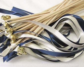 25 Double Ribbon Wedding Wands With Bell