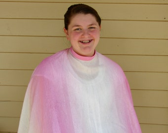 Haircut Cape- Plus Size Cape- Styling Cape- Pink and White- Crinkle Fabric- Water Resistant- Salon Apparel- Upcyled Salon Cape- Big and Tall