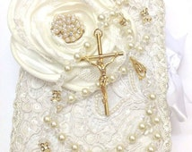 10%off sale Lace Wedding bible and Rosary, Bible Rosary Set, Libro y Rosario