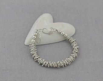 Large Sterling Silver Nugget Bracelet