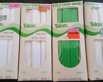 5 Packages Vintage Talon Fold Over Trim White Kelly Green 100% Polyester Knit 2 Yards Each