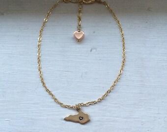 Kentucky bracelet, state jewelry, usa, brass metal stamped bracelet, bridesmaid gift