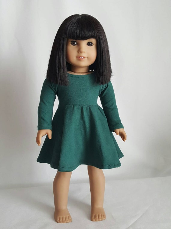 Hunter Green Long Sleeve Skater Dress for 18 inch dolls by The Glam Doll