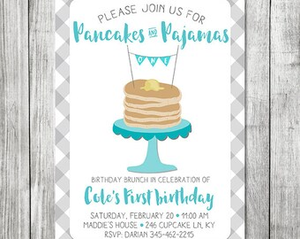 Pancake Brunch Birthday Invite - Boy First Birthday - Pancakes & Pajamas Birthday Invite - 5x7 JPG