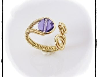 Gold Toe Ring/Pinky Ring/Knuckle Ring, Wire Woven with 14K Gold Filled Wire - Tanzanite Crystal