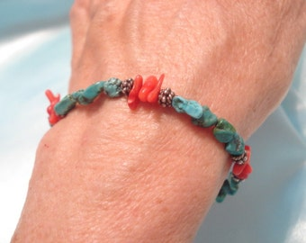 Vintage Handcrafted Turquoise & Red Coral Sterling Bracelet