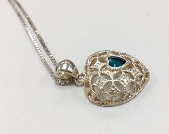 925 Sterling Silver  Necklace With  Heart Pendant!!!