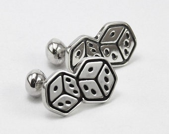 Handmade solid  sterling silver dice cufflinks. Jewelry for men. Original design.Limited edition