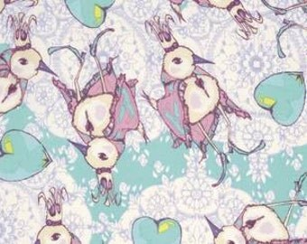 Tina Givens Feather Flock 'Dancing King' in Aqua Cotton Fabric