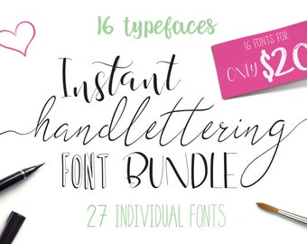 Font bundle Script fonts and hand lettering. Calligraphy font including brush script fonts. Can be used for logo designs