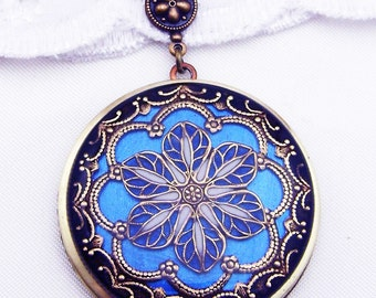 Sapphire Metalic Blue Resin Flower Locket, Gift For Her. Mothers Day Gift Valentine Gift