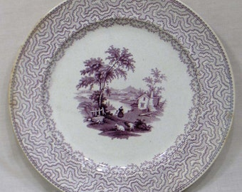 Vintage T. F. & Co. Mulberry Transfer Plate Rural Pattern Farm Sheep People