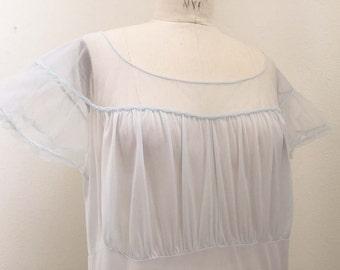 Vintage Sheer Baby Blue Vanity Fair Night Gown
